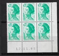"""FR Coins Datés YT 2181 Bloc De 6 """" Liberté 20c. émeraude """" Neuf** Du 12.11.85 - 1980-1989"""