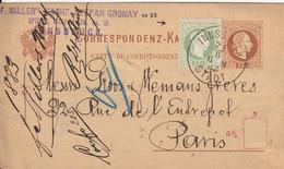 Autriche Entier Postal Innsbruck Pour La France 1883 - Postwaardestukken