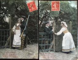 2 Cpa, Série Le Droit De Passage, Couples, Fantaisies, Chasseur, Scènes D'Amoureux Légendées, N°1 Et 6 - Parejas