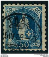 1882, 50 Rp. Stehende Helvetia Mit Seltener Grober Zähnung (9 3/4:9 1/4) Gestempelt THAL. Einige Minimal Verkürzte Zähne - Usati