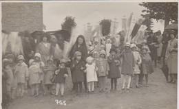 Granville  50 Carte Photo   Groupe Enfants Devant Grande Porte   Banderolles   Beau Cliche Denizet - Granville