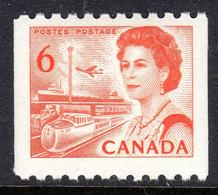 CANADA - 1970 QEII 6c ORANGE-RED DEFINITIVE COIL STAMP FINE MNH ** SG 601 - Nuovi