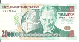 TURQUIE 20 MILLION LIRA 2000 VF P 215 - Turkije