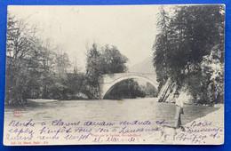 GRUYERES: GRANDVILLARS: 1903 PONT SUR LA SARINE AVEC PERSONNAGE AU BORD DE L'EAU - FR Fribourg