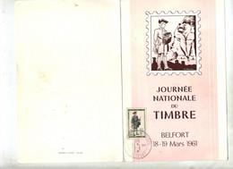 Menu Cachet Belfort Journee Du Timbres 1961 - Matasellos Conmemorativos
