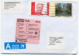 Envelope To Wien Austria Returned Zuruck Retour Rts To Belgium - Pink Sticker - Cartas