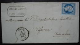 Gray Haute Saône 1860 Leminey Guinot, Lettre Pour Epinac - 1849-1876: Classic Period
