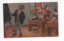 Illustration , Non  Signée  ,  Chats  Humanisées  -  Prof  Et  Ses  élèves - Katten