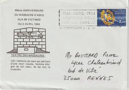 Enveloppe Oblitération Sp FLAMME ASCQ 2.4.84 Avec Le N° Yvert 2306 - 1961-....