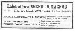 PUB 1934 Laboratoires SERPH DUMAGNOU VITRE 35 Ille Et Vilaine - Advertising