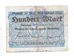 Marienburg 100  Mark   1/11//1922      2845.1 Rare !! Catalog Val 20,00 Euro - [11] Local Banknote Issues