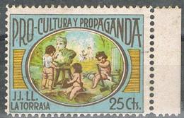 Sello Viñeta LA TORRASA (Barcelona) 25 Cts Pro Cultura Y Propaganda,  Guerra Civil ** - Viñetas De La Guerra Civil
