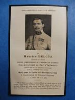 FAIRE PART DECES POILU  MILITAIRE WWI  SOUS LIEUTENANT 342 EME REGIMENT INFANTERIE RI  9 NOVEMBRE  1915 SOMMES SUIPPES - Documenti
