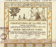 Titre Ancien - Manufacturas De La Piel - Titulo De 1923 - Déco - Textil