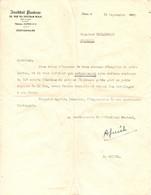 Lettre De : Institut PASTEUR : Commande De 200 Souris Blanches  De  A. GUICHE  à Vindelle (16) - Historical Documents