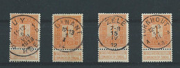 N°108(x4) OBLITERATIONS CENTRALES - 1912 Pellens