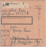 DR - Fp.Nr. 47355B (9.Kp. GR 134) Paketkarte Würzburg 2 - Maxhütte 1943 - Covers & Documents