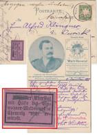 Bayern - 5 Pfg. Wappen AK Weltverein München - Chemnitz 1899 Retouraufkleber - Bavaria