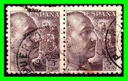 GENERAL FRANCO PAREJA AÑO 1940-45 TIPO 1939 SIN APELLIDO DEL GRABADOR - 1931-50 Usados
