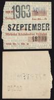 Tramway Tram MISKOLC City Public Transport Company HUNGARY Ticket - Month Ticket - 1963 September - Europa