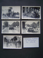 5 X PHOTO Ancienne : SERVICE MILITAIRE à PONTOISE En 1948 / HALFTRACK / JEEP / RADAR CHABAL - War, Military
