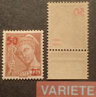 R1118/435 -  1940/1941 - TYPE MERCURE - N°477 NEUF** - VARIETE ➤➤➤ Surcharge Avec Impression RECTO VERSO - Abarten: 1931-40 Ungebraucht