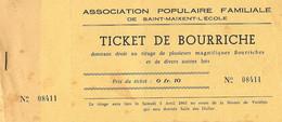 SAINT MAIXENT Carnet De 10 Tickets De Bourriche  Association Populaire Familiale 1965 - Zonder Classificatie