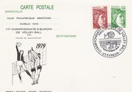 1973 CP1  1F. SABINE - OBLIT. GF ILLUSTREE - Repiqué VOLLEY BALL EVREUX 10/79 - Matasellos Conmemorativos