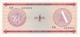 BILLETE DE CUBA DE 1 PESO LETRA A SERIE CA SIN CIRCULAR (UNCIRCULATED)   (BANKNOTE-BANK NOTE) - Cuba