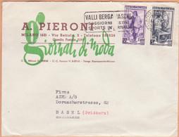 """Italien: Yvert-Nr. 575 Und 585 Auf Brief, Werbeflagge """"Valli Bergamasche"""", Milano Ferr. Corr. 14.VII.1951 In Die Schweiz - 1946-60: Marcophilie"""