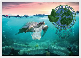 Liechtenstein 2020 PET Recycling GLOBE MAP Stamp Embroidered Nature 1v MAXI CARD - Cartoline Maximum