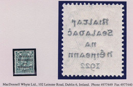 "Ireland 1922 Dollard Rialtas Black Ovpt 4d Grey-green Var ""Offset On Reverse"" Fresh Mint Hinged - Unused Stamps"