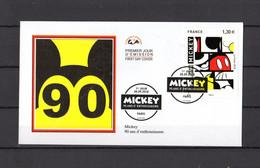 """2018 : """" 90 ANS DE MICKEY, 90 ANS D'ENTHOUSIASME """" Sur Enveloppe 1er Jour Sur Soie. N° YT 5259. Parf état FDC - Disney"""