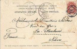 """003531 - RUSSIA - CLEAR ST PETERSBURG NUMBER CANCELLATION """"XI."""" ON STAMP FRANKING POSTCARD TRAVELLED TO FRANCE 1903 - Unclassified"""