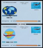 1983 España  Ed A-205/206 Sobres Aerogramas CASA 212 Y CASA C101 Aerogramas **MNH Perfecto Estado, Nuevo Sin Charnela  ( - 1931-....