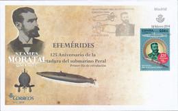 2014 Espagne  Yv 4574 Submarine Isaac Peral Sous-marins Cachet (Premier Jour) TB Beau (FDC)  (Yvert&Tellier) - FDC
