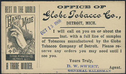 U.S.A. (1906) Hand Holding Packet Of Tobacco. Postal Card (used) With Advertising For Globe Tobacco -- Hand Made - 1901-20