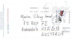 (Z 22 A Large) Cover Posted From France To Australia (with Label For COVID-19 On Once Cover (2 Covers) EUROPA 2020 Stamp - Ziekte