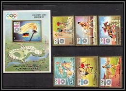 Ajman - 2608a N°1223/1228 A + Bloc 329  Jeux Olympiques Olympic Games Non Dentelé Imperf ** MNH Munich 1972 - Ajman