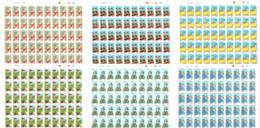(Hergé) - Lot De 6 FEUILLES COMPLÈTES (6 X 50 X 0,54 €) : Castafiore, Dupont-Dupond, Tintin, Tchang, Tournesol, Haddock - Fogli Completi