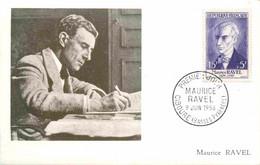 Maurice RAVEL YT 1071 Premier Jour CIBOURE 9 Juin 1956 Carte Maximum Card CM - 1950-59