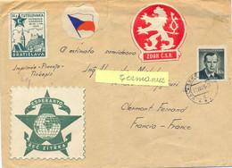 CESKOSLOVENSKO TCHECOSLOVAQUIE VALASSKE TàD 11.VII.49 Avec 4 VIGNETTES Dont ESPERANTO - Cartas