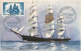 La Capricieuse France-Canada YT 1035 Premier Jour LA ROCHELLE 9 Juil 1955  Carte Maximum Card CM - 1950-59