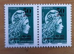 """FRANCE 2020 MARIANNE L'ENGAGÉE VERT SURCHARGÉE """"50 Ans Gravés Dans L'Histoire"""" - Nuovi"""