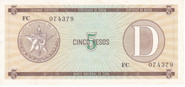 BILLETE DE CUBA DE 5 PESOS LETRA D SERIE FC CALIDAD EBC (XF) (BANKNOTE-BANK NOTE) - Cuba