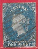 Ceylan N°1 1p Bleu 1855-58 O - Ceylon (...-1947)
