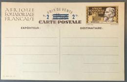 AEF Entier Carte Postale CP1 - Surchargé 2fr - Cote 70€ - (B2834) - Covers & Documents