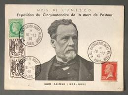 France - Carte Commemorative, Exposition Du Cinquantenaire De La Mort De PASTEUR - (B2822) - 1921-1960: Periodo Moderno
