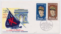 Nouvelles-Hébrides Enveloppe Premier Jour Timbre Général De Gaulle Champs-Elysées Arc De Triomphe Croix De Lorraine - De Gaulle (General)