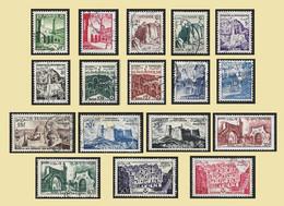 TUNISIE  1954 -  YT 366 à 382  Série Complète Des 17 Valeurs Sites - Oblitérés - Gebruikt